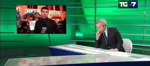 Enrico Mentana inviperito con Gabriele Paolini