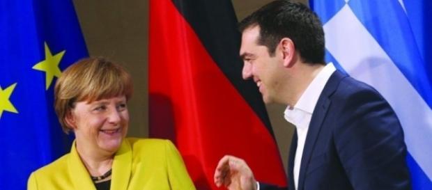 Chanceler alemã Angela Merkel recepciona o 1º ministro grego Aléxis Tsipras