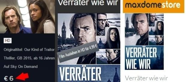 Sky ist bei fast allen Filmen am teuersten! Fotos: Sky.de, Amazon.de, Maxdome.de Screenshots
