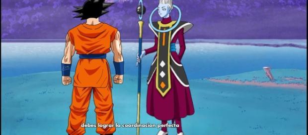 Goku hablando con Wiss sobre su entrenamiento