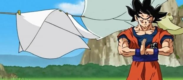 Goku tratando de sentir la presencia de Hit