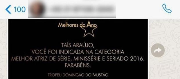 Taís Araújo envia mensagem para pessoa errada e posta no Instagram. (foto: reprodução / Instagram)