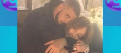 Instagram - go.com Photo taken from Official Jennifer Lopez Instagram page @jlo - Drake and JLo snuggle up