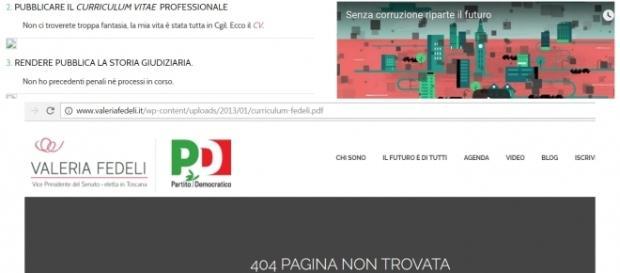 Valeria Fedeli e l'assenza del curriculum dal sito