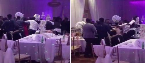 Nas imagens o momento em que um tumulto começou dentro da festa.