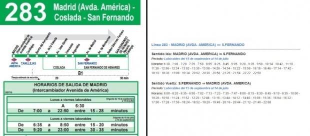 Comparativa entre los horarios hechos por el CRTM (izquierda) y los de una empresa (derecha). Los de empresa son más claros y útiles para el público.