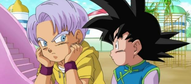 Trunks y Goten preocupados en un fan art de la serie