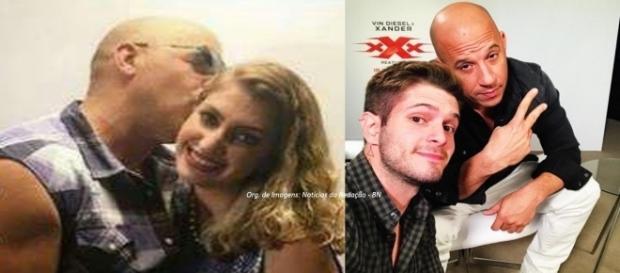 Carol e Federico entrevistaram VIn Diesel durante a CCXP (Fotos: Reprodução/Carol/Federico)