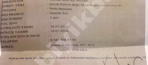 Documento oficial que permitiu Altıntaş a tirar dois dias de folga durante o golpe fracassado na Turquia.