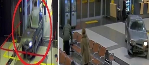 Nas imagens o carro já dentro do aeroporto, sendo perseguido por policiais que tentavam pará-lo.