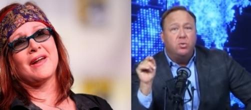 Alex Jones, Carrie Fisher, via YouTube
