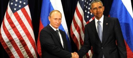 Obama y Putin durante la sesión aniversaria de la asamblea general de la UN, 2015
