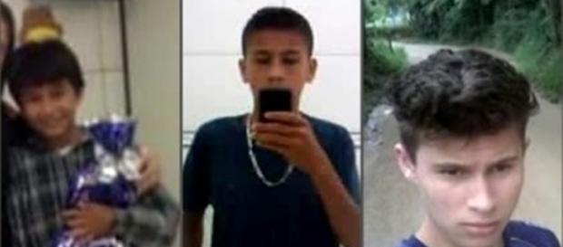 Os três garotos que morrem afogados.