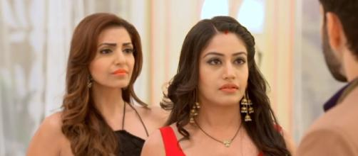 Anika and Tia confront in Ishqbaaz (Youtube screen grab)