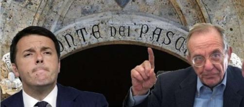 Matteo Renzi e Pier Carlo Padoan, due dei protagonisti del giallo Mps