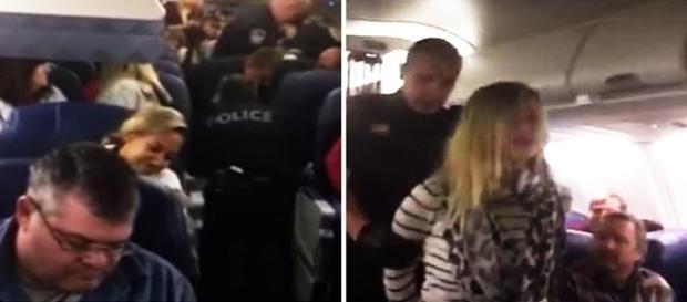 Na imagem a jovem sendo detida pelos policiais logo após o avião descer forçadamente.