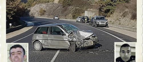 L'incidente stradale che è costato la vita a Roger Conteddu (foto piccola in basso a sinistra) e ad Antonio Cugusi, a sinistra.