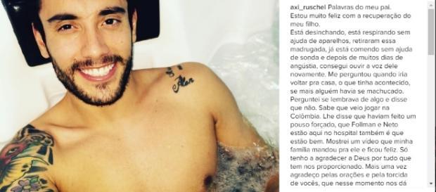 Alan Ruschel: sobrevivente do acidente aéreo da Chapecoense (Foto: Reprodução/Instagram)