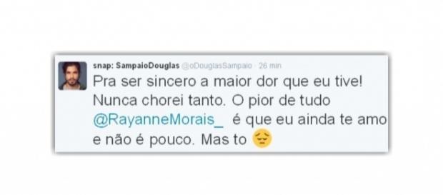 Douglas usa sua conta no Twitter para fazer declaração de amor a Rayanne Morais