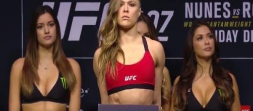 Ronda Rousey UFC 207 evening weigh-in screenshot via Andre Braddox