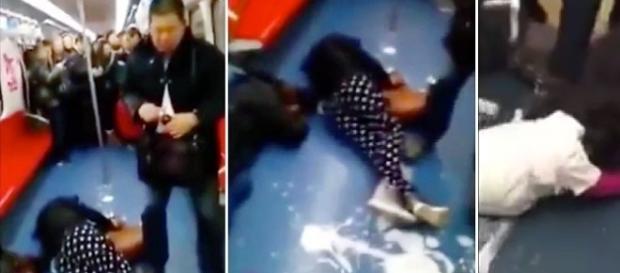 Na primeira imagem um dos homens do grupo segurando o frasco com a bebida misteriosa. Na segunda duas mulheres já caídas no chão e o líquido branco.