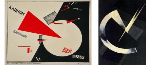 Obras de Aleksandr Ródchenko y El Lissitzky, artistas constructivistas