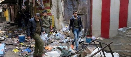 Il mercato nel centro di Baghdad, teatro della doppia esplosione