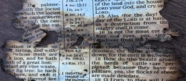 Folha da palavra de Deus é encontrada após incêncio