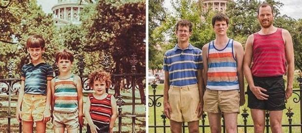 Pessoas refazem fotos de quando eram crianças