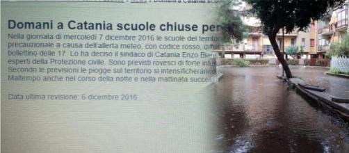 Il comunicato meteo rielaborato dallo studente catanese