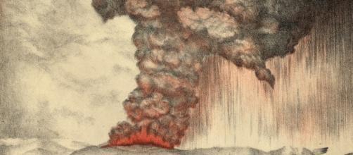 Litografia inglese che mostra la devastante esplosione del Krakatoa, il 27 agosto 1883