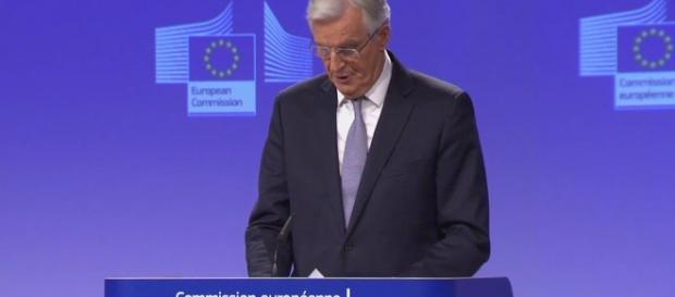 Michel Barnier at the press conference; Photo credit: Reuters