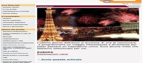 Il sito del Comune di Roma consiglia alcune mete per capodanno