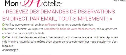 L'argumentaire du site MonHotelier à l'intention des hôteliers