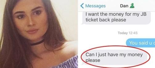 O namorado resolveu cobrar uma dívida da moça