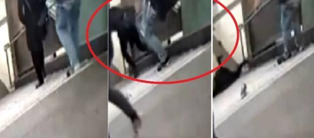 Mulher é chutada no metrô - Foto/Youtube