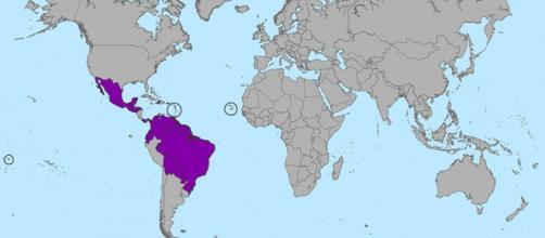 mappa della diffusione di Zika Virus