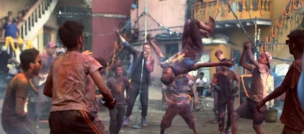 Un momento de la grabación del vídeo de Coldplay