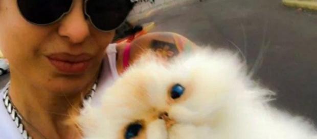 Daniela cardone con su gatito Matute