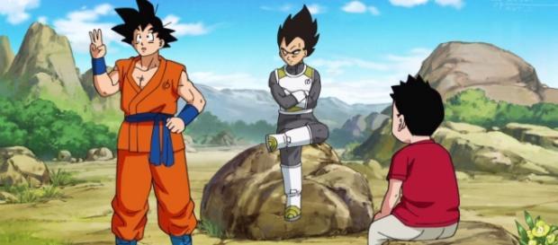 Goku contando los universos y haciendo el gesto 3