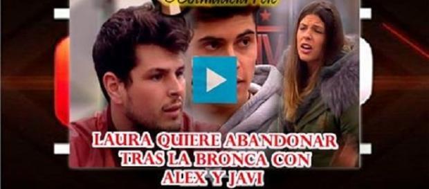 Laura, Javier y Alejandro en plena discusión.