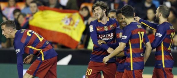 Celebración del gol en el conjunto catalán