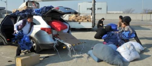 trabajadores de kaesong abandonando el complejo