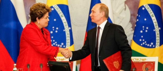 Dilma Rousseff e o presidente russo Vladimir Putin