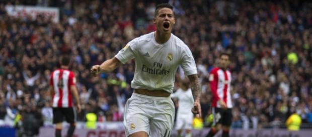 Celebración del gol de James en el minuto 37