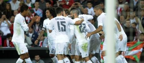 Celebración en el partido contra el Athletic