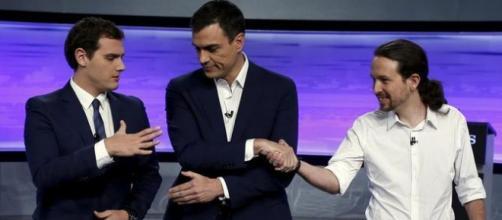 Representantes de PSOE Podemos y Ciudadanos
