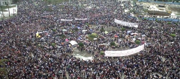 Piazza Tahrir nel febbraio 2011.