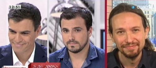 Pedro Sánchez, Alberto Garzón y Pablo Iglesias.