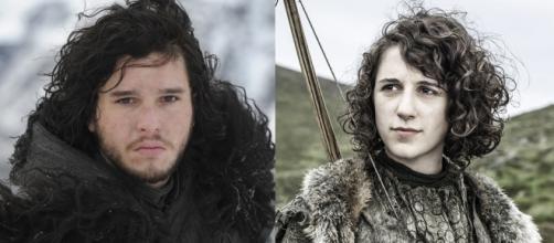 Jon Snow y Meera Reed. (Juego de Tronos)